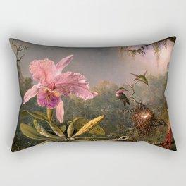 Cattleya Orchid and Three Brazilian Hummingbirds by Martin Johnson Heade. Rectangular Pillow