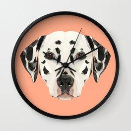 Dalmatian // Peach / Apricot Wall Clock