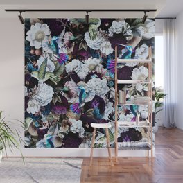 hummingbird paradise ethereal autumn flower pattern nfd Wall Mural
