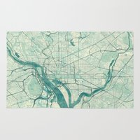 washington Area & Throw Rugs featuring Washington Map Blue Vintage by City Art Posters