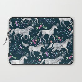 Unicorns and Stars on Dark Teal Laptop Sleeve