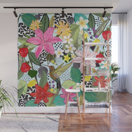 Tropical Pattern With Humming Bird, Strawberry and Colorful Lily Floral Pattern Wall Mural