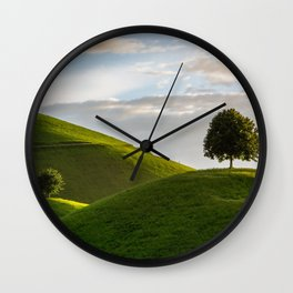 One Tree Hills, Ireland, Springtime, Emerald Isles Photograph Wall Clock