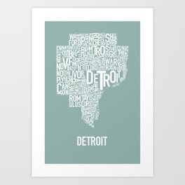 Detroit Map Teal Art Print