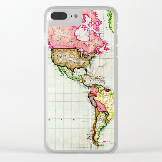 Colorful Antique Map of the World Clear iPhone Case