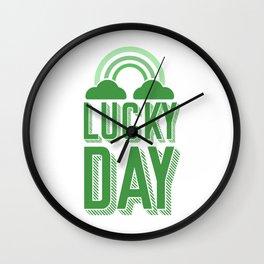 Lucky Day - St Patrick's Day Rainbow Wall Clock