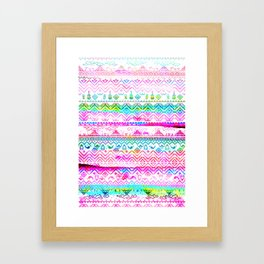 bohemian pattern in pink and turqupise soft colors Framed Art Print