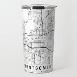 Montgomery Map, Alabama USA - Black & White Portrait Travel Mug