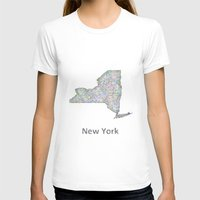 new york map T-shirts featuring New York map by David Zydd