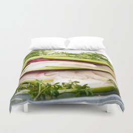 Apple and trout appetizer Duvet Cover