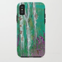 Birch Trees in a Lavender Field iPhone Case