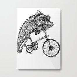 Wheeling Chameleon Metal Print