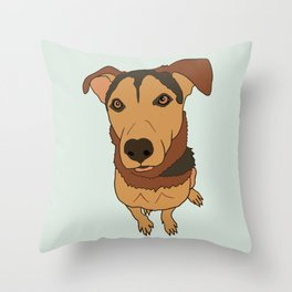 Happy Mutt Puppy Dog Illustrated Print Throw Pillow