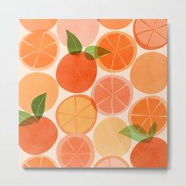 Sunny Oranges / Tropical Fruit Illustration Metal Print
