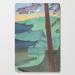 Asano Takeji Japanese Woodblock Print Vintage Mid Century Art Teal Turquoise Sunrise Shrine Cutting Board