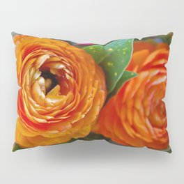 Orange Ranunculus Flowers 2 Pillow Sham