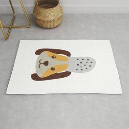 cute doggo with croc on the head - white Rug