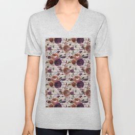 Abstract orange violet purple bohemian floral stripes Unisex V-Neck
