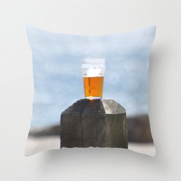 BEER DAY AT THE BEACH Throw Pillow