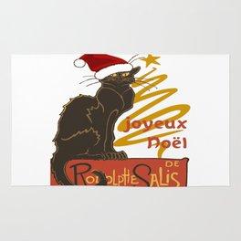 Joyeux Noel Le Chat Noir With Stylized Golden Tree Rug