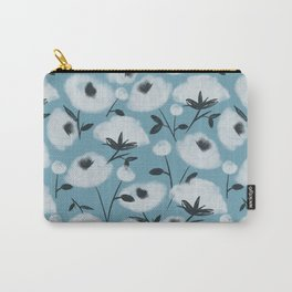 Cotton Flowers on Blue Pattern Carry-All Pouch