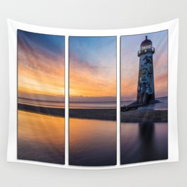 Sunset at the Lighthouse Tryptych Wall Tapestry