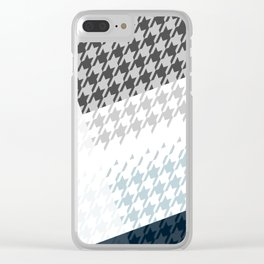 Modern Houndstooth Reinterpreted A – Navy / Gray / White Checked Pattern Clear iPhone Case