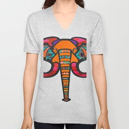 Floral & Tribal Print Elephant Head Unisex V-Neck