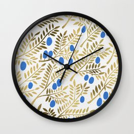 Olive Branches – Gold & Blue Wall Clock