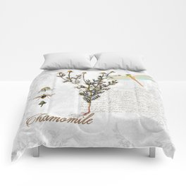 Chamomile Herb, Dragonfly Bumble Bee Botanical painting, Cottage style Comforters