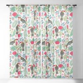 Floral Toucan Sheer Curtain