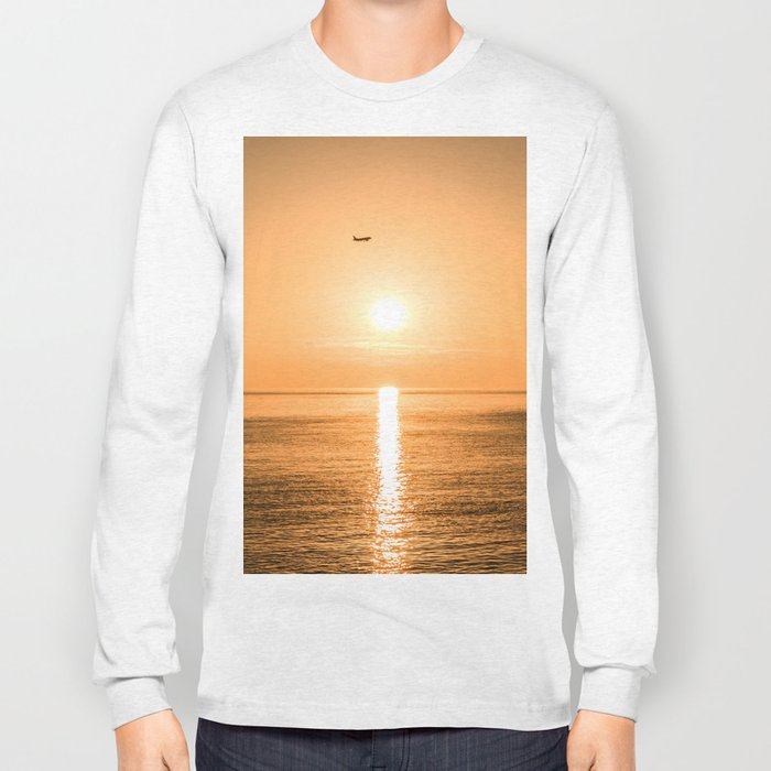 Flight Over The Sea At Sunset Long Sleeve T-shirt
