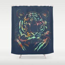 navy tie dye tiger print Shower Curtain