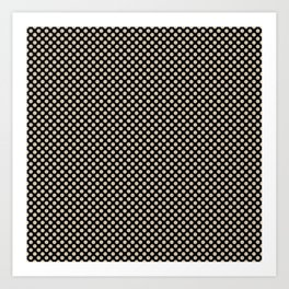 Black and Frosted Almond Polka Dots Art Print