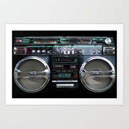 Retro 80's objects - Guetto Blaster Art Print