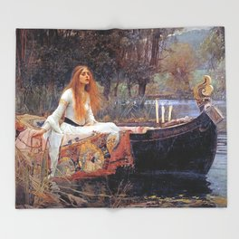 THE LADY OF SHALLOT - WATERHOUSE Throw Blanket