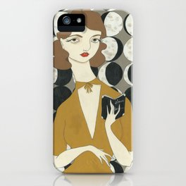 Phases of the Moon girl iPhone Case