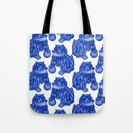 Chinese Guardian Lion Statues in Pottery Blue + White Tote Bag