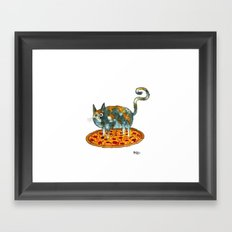 Pepperoni, Black Olives and Cat Framed Art Print