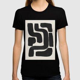 Black Ink Paint Brush Strokes Abstract Organic Pattern Mid Century Style T-shirt