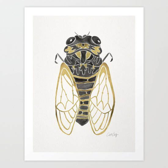 Cicada – Black & Gold Art Print
