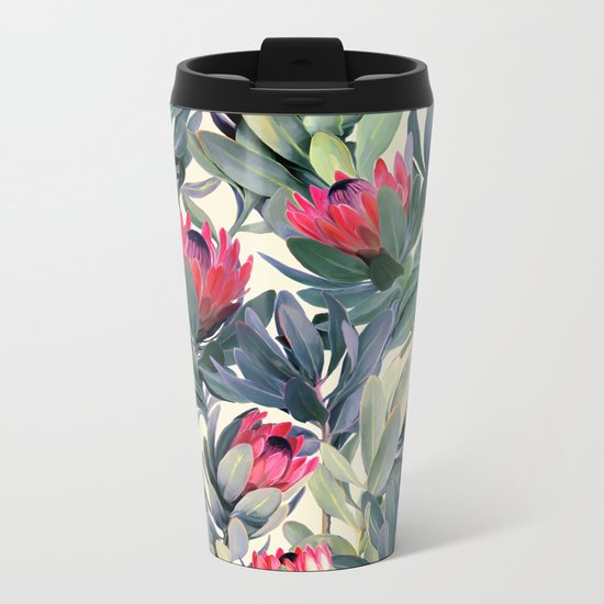 Painted Protea Pattern Metal Travel Mug