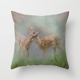 Vintage Painting Of The Innocence Of Two Deer Snuggling Throw Pillow