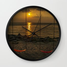 Colington North Carolina Swingset Sunset Wall Clock