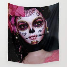 Mexican Hibiscus Day of the Dead Skull Wall Tapestry