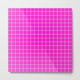 Hot magenta - fuchsia color -  White Lines Grid Pattern Metal Print