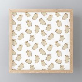 Cute Sleepy Pug Pattern Framed Mini Art Print