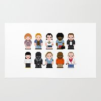 pulp fiction Area & Throw Rugs featuring Pixel Pulp Fiction Characters by PixelPower