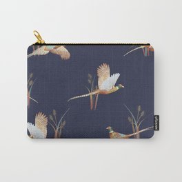 Pheasants on Navy Carry-All Pouch