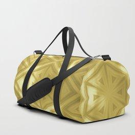 Elegant gold striped kaleidoscope with bokeh Duffle Bag